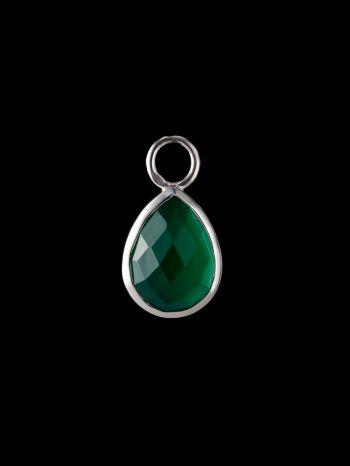Green onyx silver charm (single)