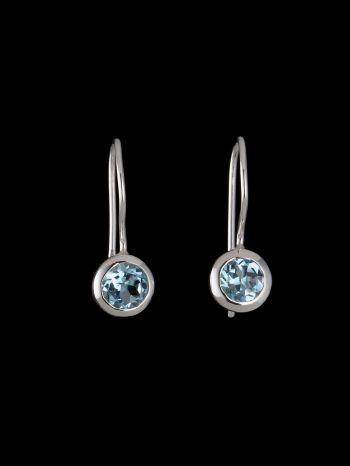 Small blue topaz silver earrings