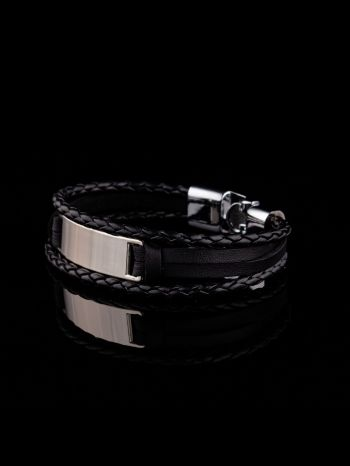 Men's Bracelet with imitation leather and non-silver metal