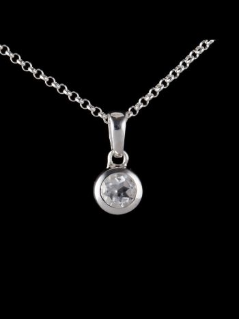Small crystal silver pendant