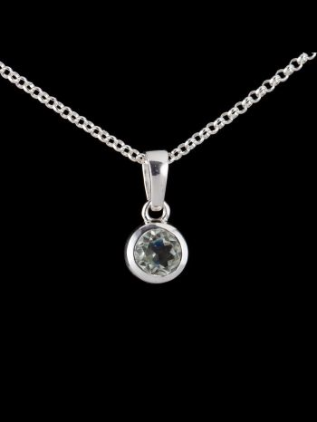 Small green ametyst silver pendant
