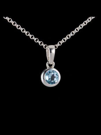 Small blue topaz silver pendant
