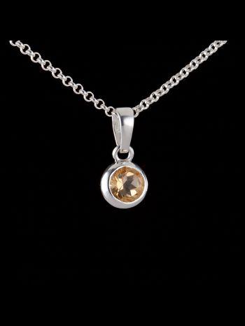 Small citrine silver pendant