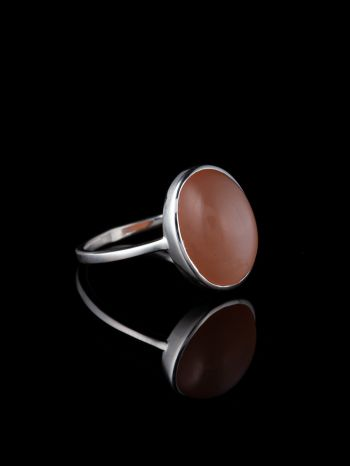 Indian peach moonstone silver ring