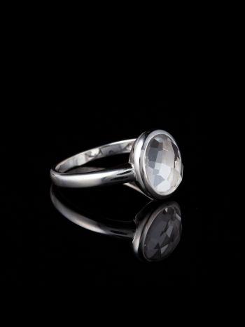 Crystal quartz silver ring