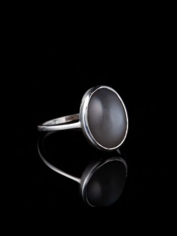 Indian gray moonstone silver ring