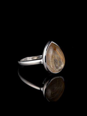 Rutile quartz silver ring