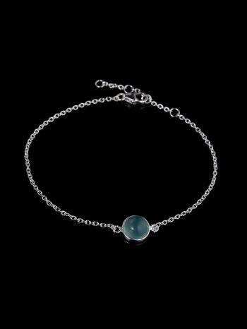 Aqua-chalcedony silver bracelet