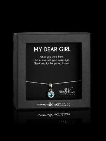 Small blue topaz silver pendant with -chain