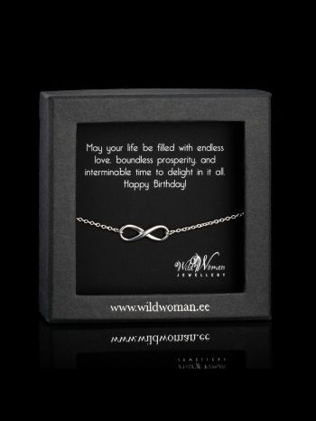 """Infinity silver necklace """"B-Day wishes"""""""