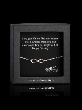 """Infinity silver bracelet """"B-day wishes"""""""