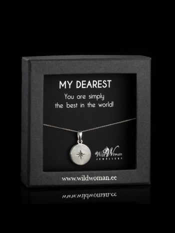 """Silver necklace  """"World's Best"""" with a diamond for Her"""