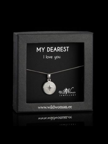 """Silver necklace """"Love""""with a diamond for Her"""
