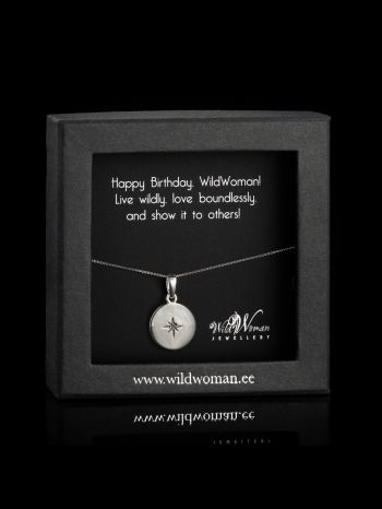 """Silver necklace """"WildWoman"""" with a diamond for birthday"""