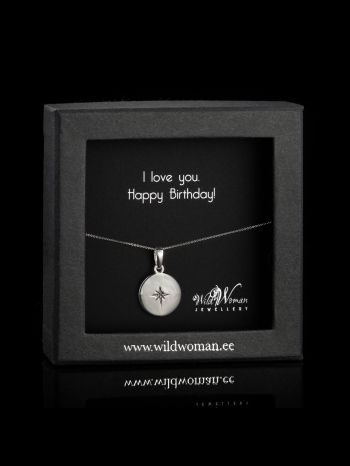 """Silver necklace """"Love""""with a diamond for Birthday"""