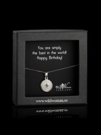 """Silver necklace """"World's Best"""" with a diamond for birthday"""