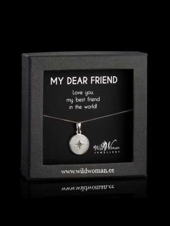 """Silver necklace """"Love""""with a diamond for FRIEND"""
