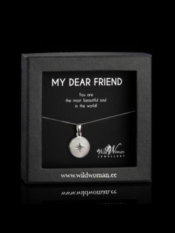 """Silver necklace """"Beautiful"""" with a diamond for Friend"""