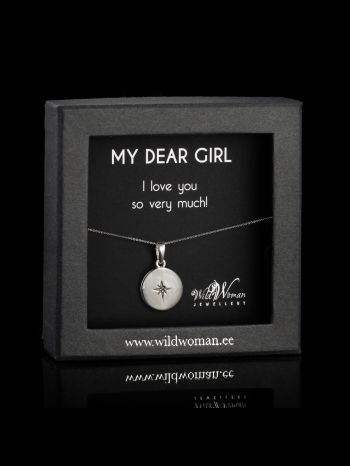 """Silver necklace """"Love""""with a diamond for daughter"""
