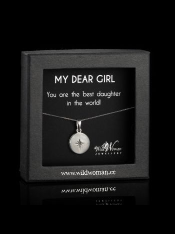 """Silver necklace  """"World's Best"""" with a diamond for daughter"""