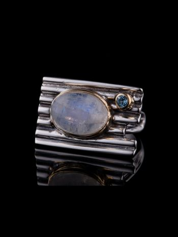Silver Ring With Moonstone And Blue Topaz
