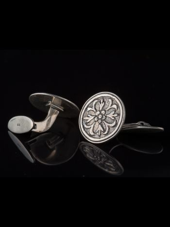 Silver Cufflinks With Ornament