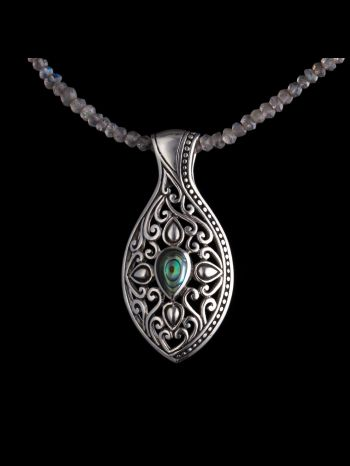 Green Mother Of Pearl Silver Pendant