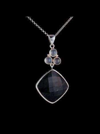 Moonstone and rutile quartz silver pendant