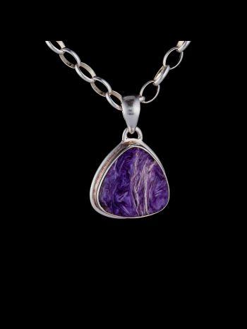 Charoite silver pendant