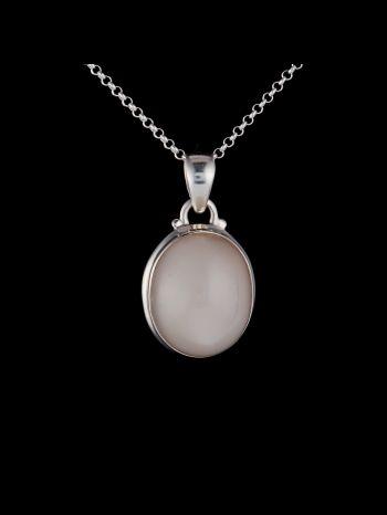 Peach moonstone silver pendant