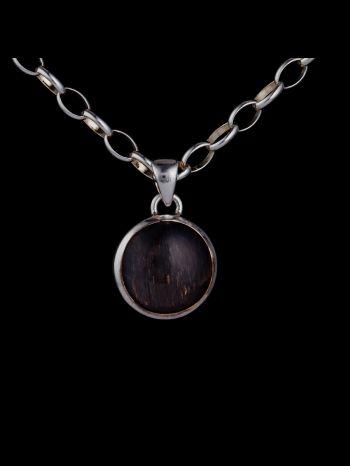 Black sun stone silver pendant