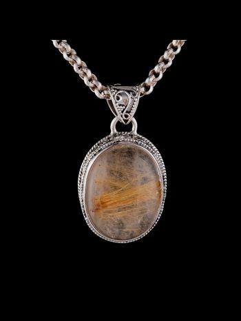 Golden rutile silver pendant