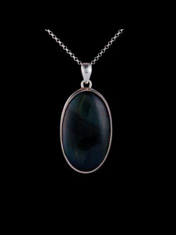 Hawk's eye silver pendant