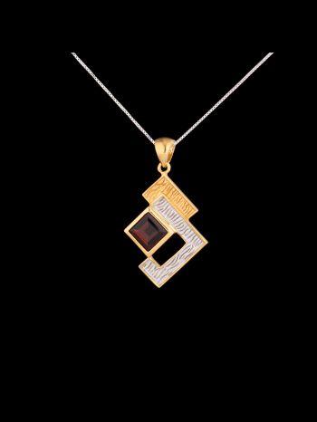 Garnet silveer and 14K gold plated pendant