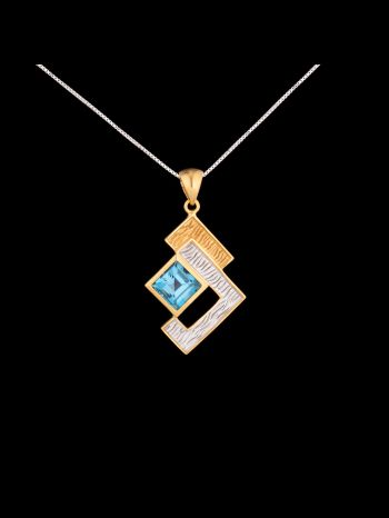 Swiss topaz silver and 14K gold plated pendant