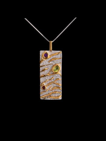 Mix stone silver and 14K gold plated pendant