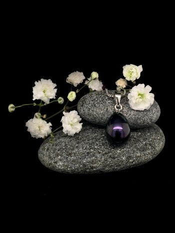 Black pearl silver pendant with 45cm silver chain