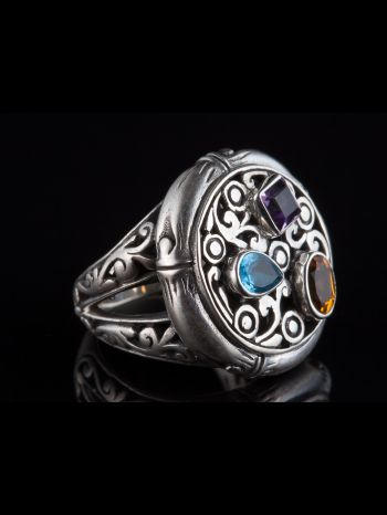 Mixed Stone Silver Ring