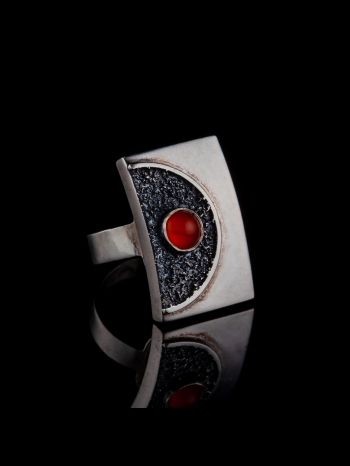 Red Onyx Silver Ring