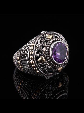 Amethyst silver ring with gold ornaments