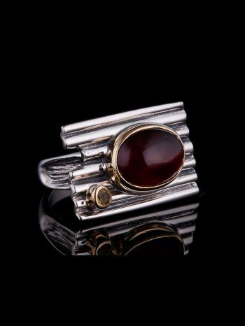 Garnet And Citrine Silver Ring, Brass