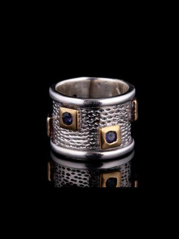 Iolite Silver Ring, Brass