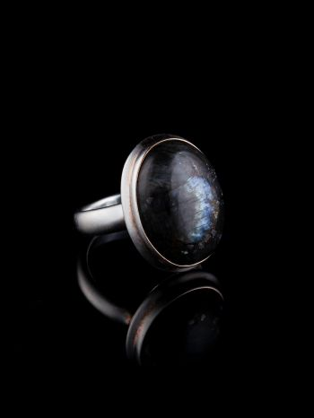 Larvikite black moonstone silver ring