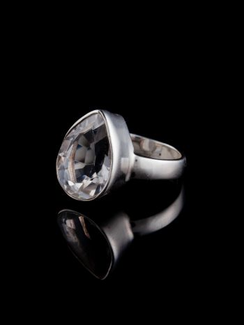 Crystal silver ring