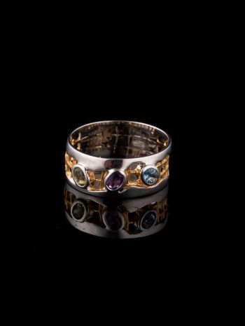 Mix stone silver and 14K gold plated ring