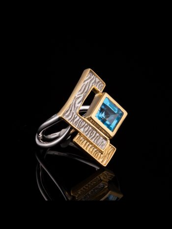 Swiss topaz silver and gold plated ring