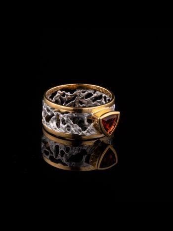 Garnet silver and 14K gold plated ring