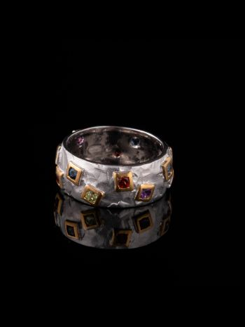 MIX stone and 14K gold plated silver ring