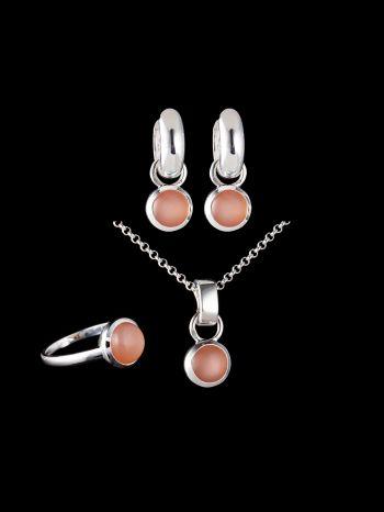 INDIAN PEACH MOONSTONE SILVER JEWELRY SET (MIX AND MATCH)