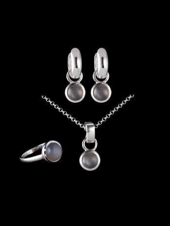 INDIAN GRAY MOONSTONE SILVER JEWELRY SET (MIX AND MATCH)